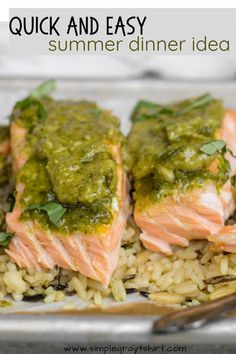 Pesto salmon is the perfect 2 ingredient meal. Combine homemade or store bought pesto with a beautiful piece of fresh salmon for the ultimate simple meal. Serve with rice pilaf and your favorite veggie for a complete and healthy dinner. #pestosalmonrecipe #30minutemeal Easy Fish Recipes, Baby Food Recipes, Easy Dinner Recipes, Pesto Salmon, Baked Salmon, Salmon Rice Pilaf Recipe, Foil Wrapped Salmon, Easy Summer Dinners, Frozen Salmon