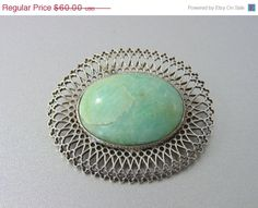 20% OFF - HUGE SALE Interesting Antique Silver Openwork Filigree Russian Amazonite Brooch. Vintage Brooches. *Fine Jewelry(Sale) on Etsy, $40.00