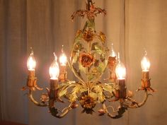 L140 - Beautiful Early Italian 6 Arm Painted Toleware Flower Chandelier