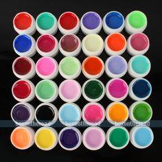 36 pots Pure Colors UV Gel Shinny Powder Glitters Nail Art UV Gel DIY Decoration | eBay