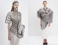 """""""Hard Copy"""" is a collection created by Noa Raviv as her graduation work at Shenkar college of Engineering and Design in Israel. It is a link between #3Dtechnology and #FashionDesign. To create this unique looks she collaborated with #Stratasys, one of the largest manufacturers of 3D printers in the world. Photo credits: Ron Kedmi."""