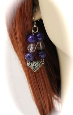 Purple fossil stone and Pink Glass with by JazzitUpwithDesigns, $40.00