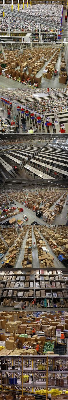 What it looks like inside an Amazon distribution center. So this is why I still haven't gotten my packages...