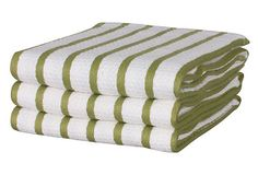 S/3 Casserole Towels, Olive on OneKingsLane.com