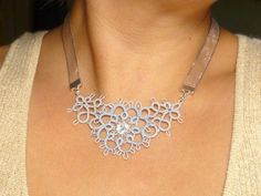 ***IInteresting use of Ribbon***Tatted Lace Floral Necklace in your color choice and silver -Flirtation MTO