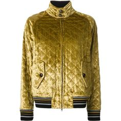 Maison Margiela quilted bomber jacket ($2,795) ❤ liked on Polyvore featuring outerwear, jackets, yellow, flight jackets, yellow jacket, long quilted jacket, striped jacket and long bomber jacket