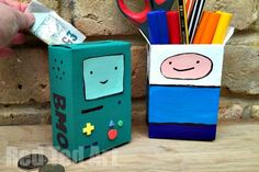 Adventure Time Craft - Desk Tidy & Money Box