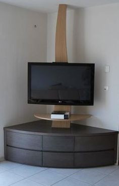 Living room tv wall decor tv nook 30 ideas for 2019 Corner Tv Stands, Corner Tv Unit, Corner Table, Tv Cabinet Design, Tv Unit Design, Tv Wall Design, Tv Design, Tv Unit Furniture, Corner Furniture