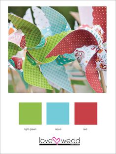 green, blue, red #color palette #wedding