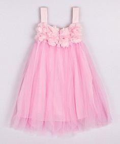 Another great find on #zulily! Pink Flower Babydoll Dress - Toddler & Girls #zulilyfinds
