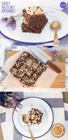 Absolutely delicious hazelnut brownies. Crispy on the outside and gooey on the inside - how gooey exactly is up to how long you cook them for. (Oh man those look amazing)