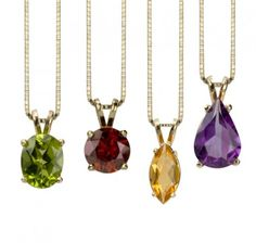 These custom gemstone and birthstone necklaces make a great gift! Choose your gemstone or gemstone colour, choose a shape, and we'll take care of the rest! Shop at: http://www.studio1098customjewellery.com/collections/necklaces/custom-gemstone-birthstone-necklace #custom #necklace #peridot #ruby #citrine #amethyst #pendant #dainty #trendy #fashion #handmade #jewelry #jewellery
