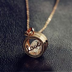 Lovely Exquisite Cutout Love Letter Ring Pendant Cubic Zirconia Alloy Plated 18K Gold Women's Necklace