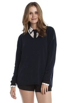 V-Neck Faux-Leather Trim Pullover