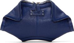 Alexander McQueen - Ultramarine Leather Small De Manta Clutch Alexander Mcqueen Wallet, Alexander Mcqueen Clothing, Casual Shorts, Denim Shorts, Midnight Blue, Zappos Couture, Blue Clutch, Fab Bag, Leather Clutch
