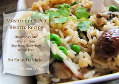 Easy Vegan Mushroom & Pea Risotto Recipe | Colorful Canary
