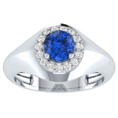 2.15 ct Blue Sapphire Solitaire Jewel Engagement Ring in 14kt Gold Over Silver #PanacheJewels #Solitaire