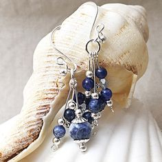 Ready for some gorgeous fall colours? Add a fabulous pair of beautiful blue sodalite statement earrings to your wardrobe. The perfect accent to light your face with shine and add a splash of colour to your day! Sterling Silver Dangle Earrings, Gemstone Earrings, Statement Earrings, Silver Jewelry, Unique Jewelry, Beaded Mirror, Earrings Handmade, Gifts For Mom, Dangles