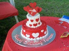 Hearts! Birthday theme cake June 2012