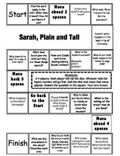 """""""Sarah, Plain and Tall"""" Comprehension Game Board- Journeys"""