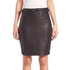 SET Lace-Up Detail Leather Mini Skirt (€505) ❤ liked on Polyvore featuring skirts, mini skirts, apparel & accessories, black, short skirts, mini skirt, leather skirt, leather miniskirt and real leather skirt