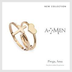 Prega, Ama: gli anelli della nuova collezione di Amen con il cuore e la croce www.amencollection.com
