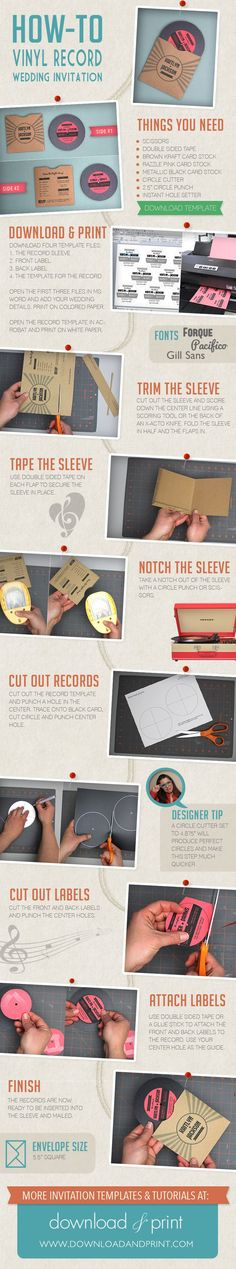 How-To DIY a vinyl record wedding invitation from #Downloadandprint