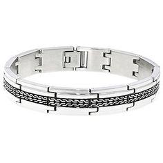 Men's Steel Jewelry - Mens Two Tone Black Plated 12MM Steel Link Bracelet - Gemologica, A Fine Online Jewelry Store #mens jewelry  gemologica reviews,  #steel bangle bracelets -  gemologica
