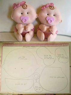 cute felt baby dolls and pattern Felt Patterns, Stuffed Toys Patterns, Doll Crafts, Diy Doll, Felt Baby, Sewing Dolls, Felt Toys, Felt Ornaments, Felt Animals