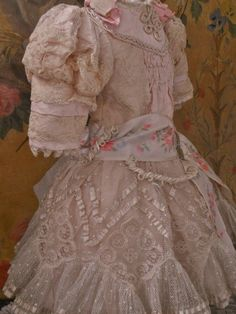 Pretty French Bebe Silk Costume with Bonnet (item #1300978, detailed views)