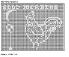 Free Filet Crochet Cat Patterns | Original Filet Crochet Pattern Kitchen Rooster Theme 005