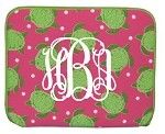 Monogrammed Tablet Case in Pink and Green Tutle