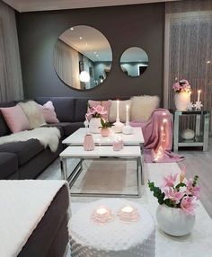 30 Incredibly Charming Pink Living Room Design Ideas - Home Bigger Romantic Living Room, Living Room Decor Cozy, Living Room Grey, Home Living Room, Living Room Designs, Blush Pink Living Room, Cozy Apartment Decor, Living Spaces, Living Room Inspiration