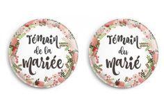 Badge témoin de la mariée - mariage bohème (par 2)