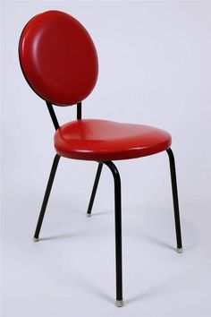 1 from 3 Retro Vintage Industrial Design 50  Red Dot Chairs Made in Hungary