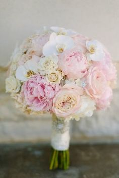 Blush and white bridal bouquet with Sarah Bernhardt peonies, pink garden roses and phalaenopsis orchids by Design House Weddings