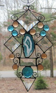 Stained Glass Suncatcher in Teal & Copper by CartersStainedGlass, $28.00