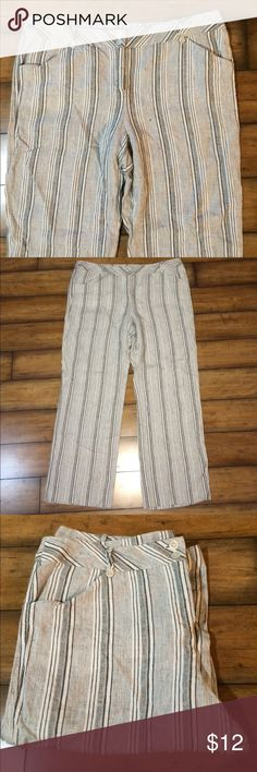"""Linen Striped Pants by Madison Studio•Size 16 Madison Studio Linen Pants•Vertical Black and White Stripes•Inseam:29"""", Rise: 11""""•100% Linen•Size 16 Madison Studio Pants Trousers"""