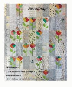 Seedlings by Laura Heine from Fiberworks Cute scrappy appliqued flowers on scrappy background Appliques pattern and instructions included Smoke free studio, dog not allowed in fabric room Easy Quilts, Small Quilts, Mini Quilts, Scrappy Quilts, Applique Quilt Patterns, Hand Applique, Quilting Projects, Quilting Designs, Crafty Projects