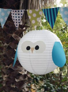 Smart idea! Turn simple paper lantern into lovely owl ~ Owl Lantern by Janette - My Sweet Prints Blogspot via apartmenttherapy