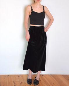 90's black velvet long skirt high waisted by WoodhouseStudios