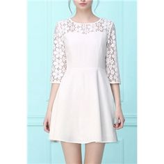 White Round Neck Lace Slim Chiffon Dress