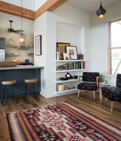 great layout, recessed bookcase and details