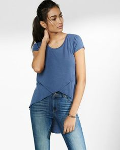 express one eleven crossover hi-lo tee