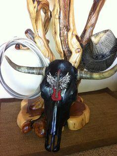 Guitar with wings steer skull by SkullKrazy on Etsy, $475.00