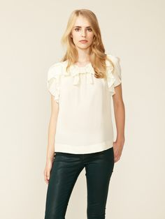 So feminine and lovely. Silk Crepe Flutter Sleeve Blouse by See by Chloe.
