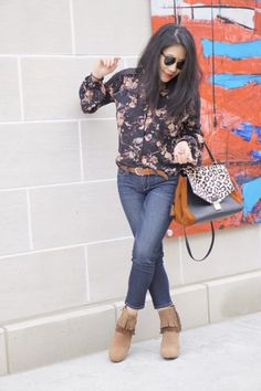 Boho Fantasies Fringe Booties from Poetic Licence Michigan Detroit over 40s petite fashion style blog blogger floral shirt + Ray Ban sunglasses + Joe's cropped jeans + BOHO FANTASIES booties IN NEW TAN + Badgley Mischka leopard bag