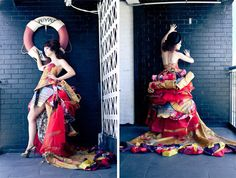 Amit Ayalon creates couture garments from reused Envirosax's.