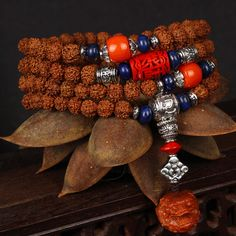 Rudraksha Beads Wrap Bracelet With Pixiu Head