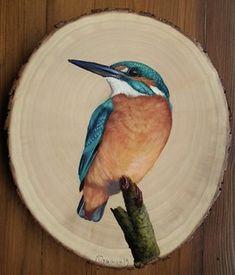 Wood Painting Art, Stone Painting, Wood Art, Arte Naturalista, Barn Art, Wood Burning Art, Wood Coasters, Mini Paintings, Wood Slices